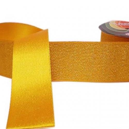 Fita Lurex Sinimbu 38 mm Dupla Face 10 Metros Cor-15 Amarelo Queimado