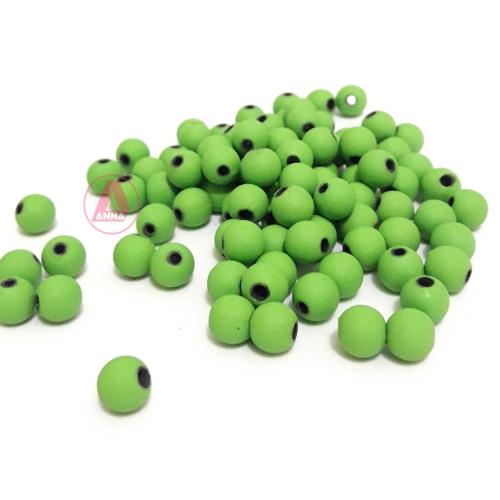 Bolas Fosca Emborrachadas de 8mm,  pacote com 50 gramas, Cor: Verde Louro Ref: A06