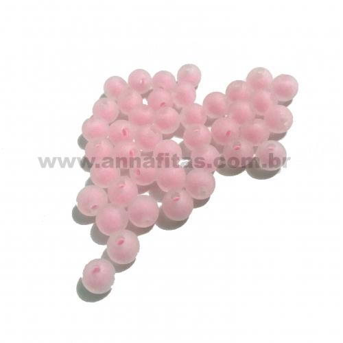 Bolas Translucidas Furo Passante com cor no Centro de 8mm, pacote com 50 gramas, Cor- Rosa Bebê Ref- 337