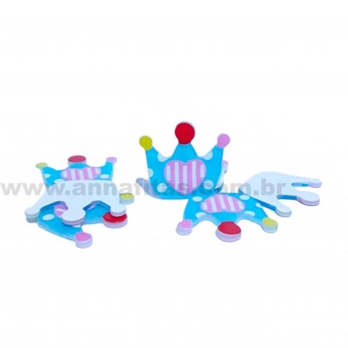 Aplique em Plástico Coroa Azul Bebê com Coração 27x30mm Ref-30070