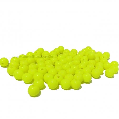 Bolas Leitosas Furo Passante de 8mm, pacote com 50 gramas, Cor- Amarelo Neon Ref- LEIT033