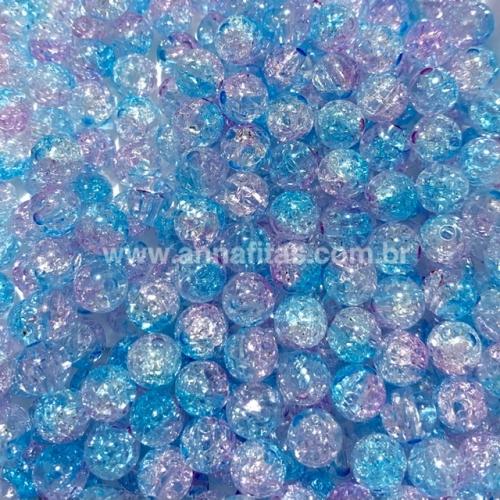 Bolas furo passante de acrílico translúcido Tie Dye CRISTAL COM AZUL E ROSA de 8mm com 50g Ref - BA8BAR