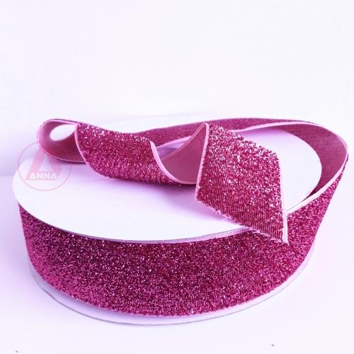 Fita Sintética Veludo com Glitter de 38mm POR 1 METRO (Lurex Esponjada) Cor ROSA PINK Ref: 4