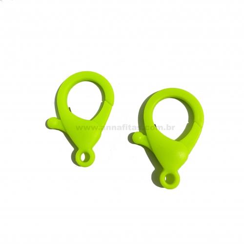 Fecho Lagosta em Plastico para Pulseira com 2 unidades  de 35mm VERDE NEON Ref: FECH1VN