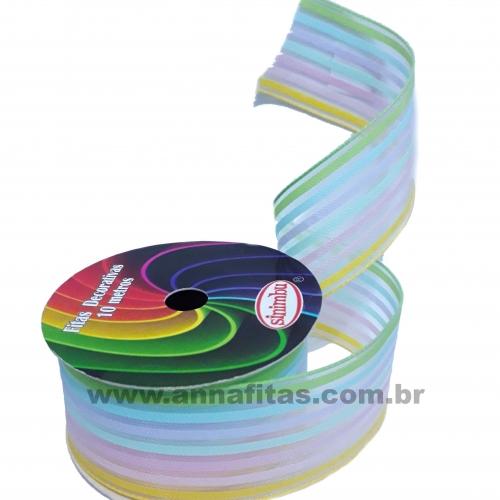 Fita de Voal Sinimbu 38mm com 10 metros Cor- 01 Arco Iris Claro Ref- 1731