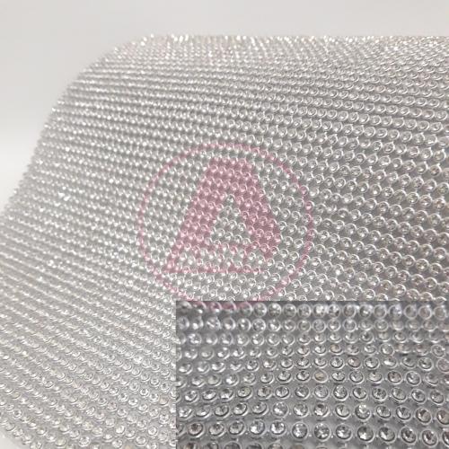 Manta de Strass Niquel/Cristal 10 por 45 cm 1 Unidade Ref:73