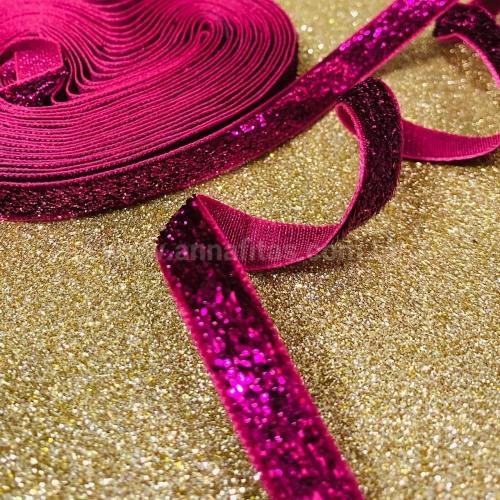 Fita  Lurex Esponjada de 10mm com 5 Metros Cor Rosa Pink Ref: 04