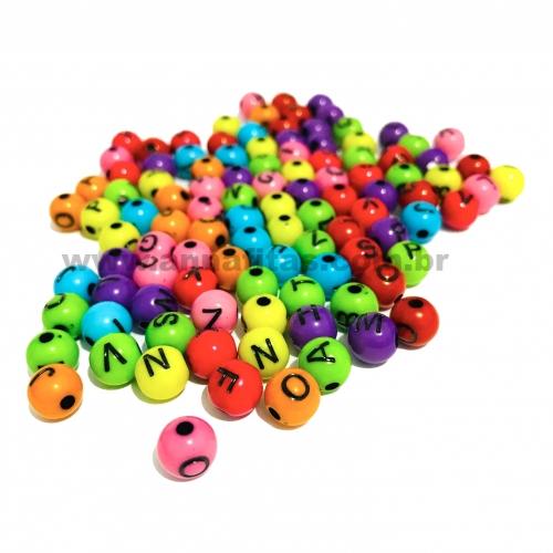 Bolas Furo Passante de Acrílicos com Letras Preta de 8mm Com 50 gramas Coloridas Ref:  LEI103