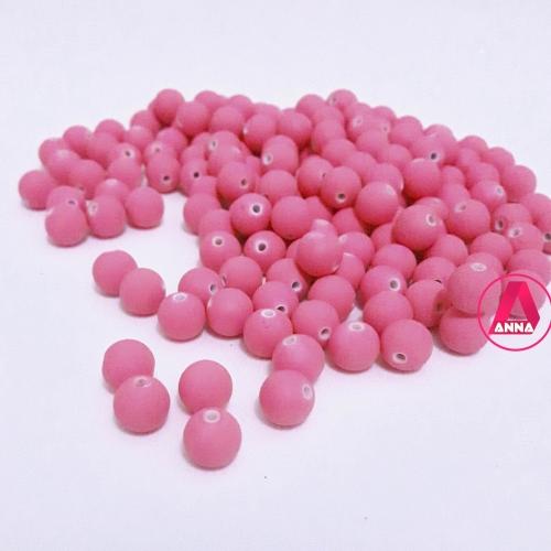 Bola Fosca Plástica emborrachadas com furo Passante Tam-8mm com 50 gramas Rosa Pink Clara COR -636