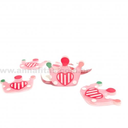Aplique em Plástico Coroa Rosa Bebê com Coração 27x30mm Ref-30071