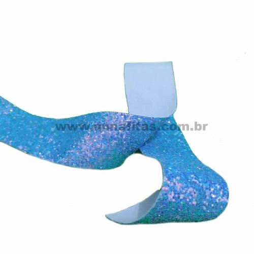 Lonita glitter Flocado de 38mm por 1metro Azul REF-38A