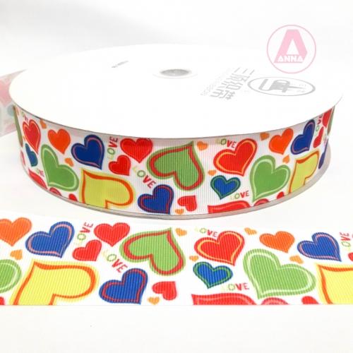 Fita Estampada Sanding 38mm Corações Love Coloridos, um Metro cor-26