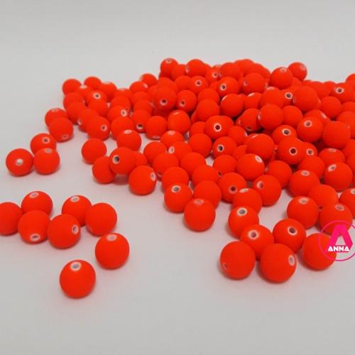 Bola Fosca Plástica emborrachadas com furo Passante Tam-8mm com 50 gramas  Laranja Neon COR -601