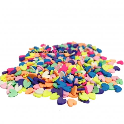 Aplique CORAÇÕES em PVC  Colorido 5mm de 10 Gramas Ref : EVA72