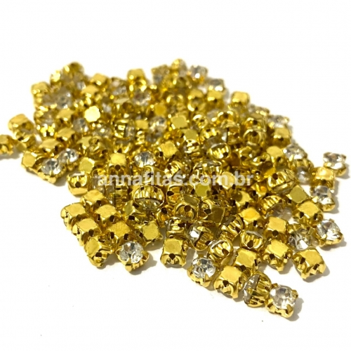 Strass de Costura, SS16 Dourado de 4 Garras com Cristal, na faixa de 175 unidades pacote com 11gramas Ref - SS16DO4
