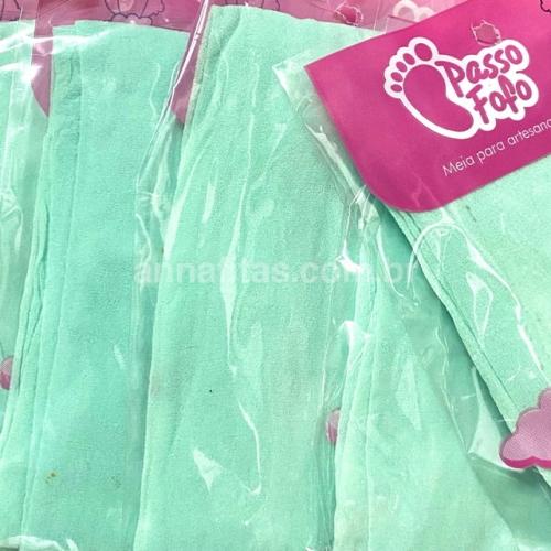 Pacote com 5 Unidade Meia de Seda Passo Fofo Verde CANDY Cor-40