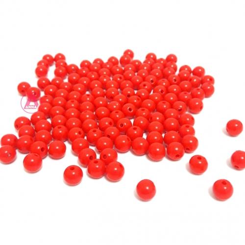Bolas Leitosas Furo Passante de 8mm,  pacote com 50 gramas, Cor: Vermelha Ref: LR13