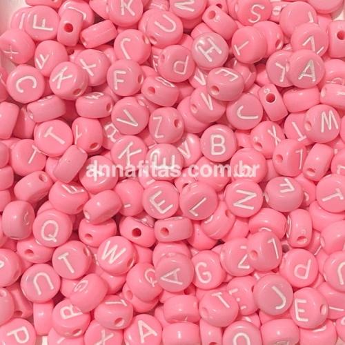 Redondo Entremeio Rosa Bebê com Letras Branca de 7mm Pacote de 50 gramas Ref: RDO114