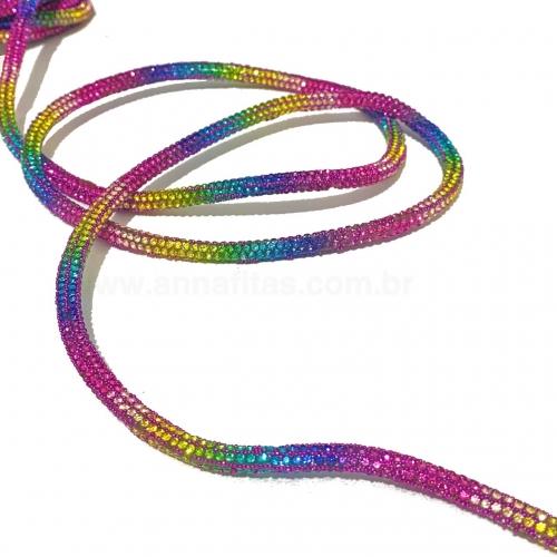 Tubo de Strass Cravejado Tie Dye de 6mm com 1 metro