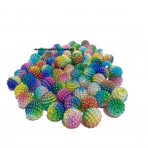 Perolas Craquelada Redondas TIE DYE de 10mm em ABS Pacote com 50g Colorido Ref: CRAQ24T
