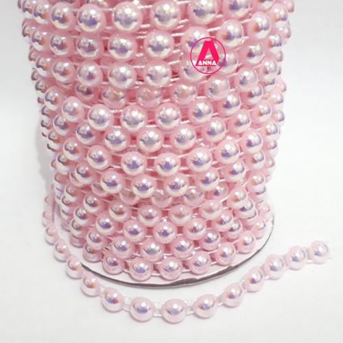 Cordão de Meia Perola Irizado Rosa Bebê de 8 milímetros, por 1 metro de comprimento Cor : 637