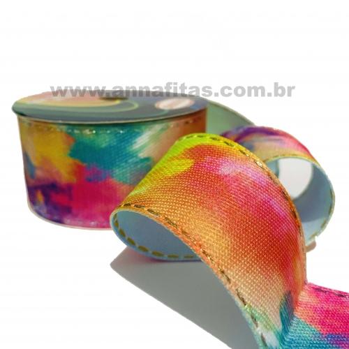 Fitas Jeans Sinimbu Pespontada Tie Dye de 38mm com 10 Metros CANDY 1823/38 COR 02