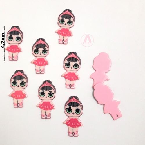 LOL em Acrílico ROSA com Tiara Rosa, para apliques em tiaras e laços Por unidade, altura 4,5 cm Ref: 12