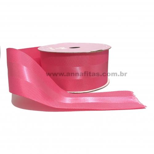 Fita de GORGORÃO COM CETIM, 40mm Com 10 Metros Cor - 28 Rosa Rosa Pink