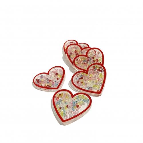 Aplique Coração em Acrílico com BORDA VERMELHA E BOLINHAS COLORIDAS 3,2x3,7cm Ref: TCAC4
