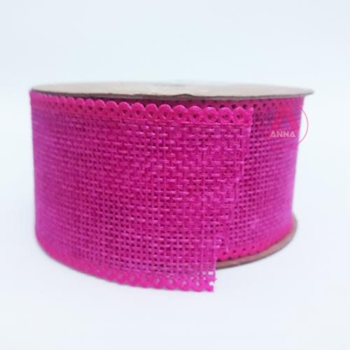 Fita da Juta 4 cm 38 mm 10 Metros Cor-28 Rosa Pink