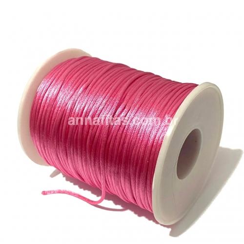 Fio de Cetim Rabo de Rato de 1mm com 10 metros Cor -  Rosa Pink Ref - 1FCRB1RP