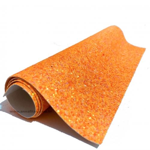 Lonita glitter Flocado Laranja Neon 24 por 40 cm Ref 35