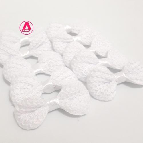 Lacinho de Crochê Melaço 2cm x 4,5cm BRANCO 10 Unidades Cor - 01