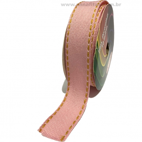 Fita Jeans Pespontada Sinimbu de 22mm Com 10 Metros Ref:1785-22 Cor- 04 Jeans ROSA BEBÊ