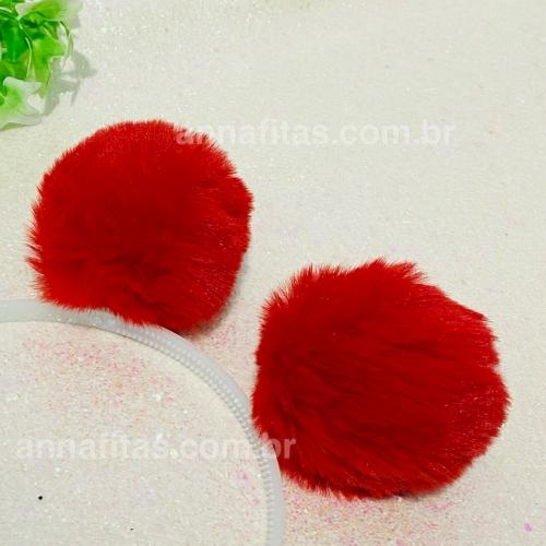 Pompom Pelúcia de 8cm 2 unidades Cor: Vermelho Ref: POVM8