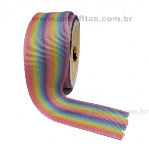 Fita Alpet de Gorgurão de 40mm com 10m Estampa LISTRAS COLORIDAS  Ref- 382300