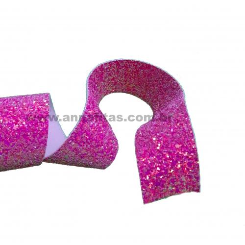 Lonita glitter Flocado de 38mm por 1metro ROSA REF-38R