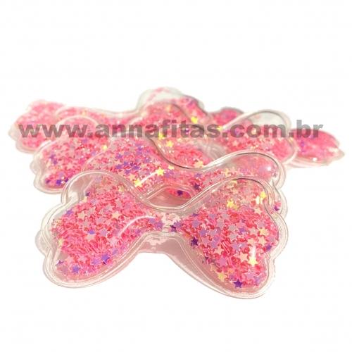 Aplique em Plástico transparente LAÇO LANTEJOULAS ROSA NEON  6x3,5cm (Vendido por Unidade) Ref: TLAN51