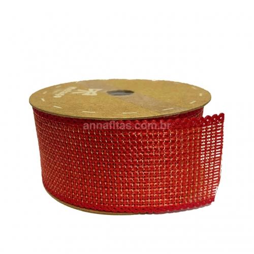Fita da Juta Metalizada BRILHO Melaço, 4cm com 10 Metros Cor- 26 Vermelho