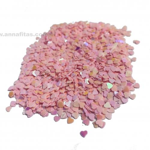 Apliques Confetes Paetê coração de 3mm com 15 gramas Cor ROSA BEBÊ Ref - CONF1RS