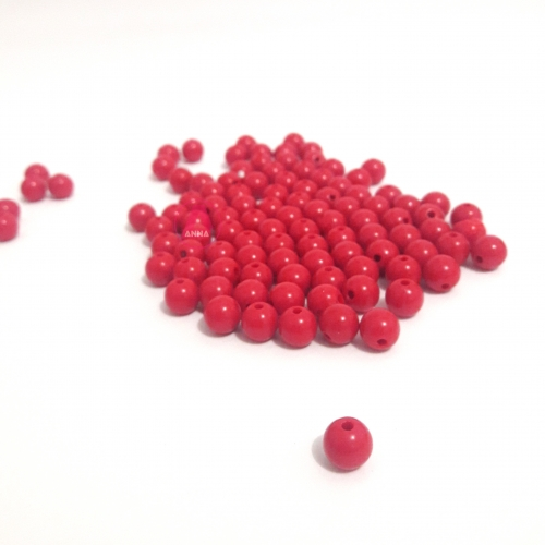 Bolas Leitosas Furo Passante de 8mm, pacote com 50 gramas, Cor: Vermelha Ref:10
