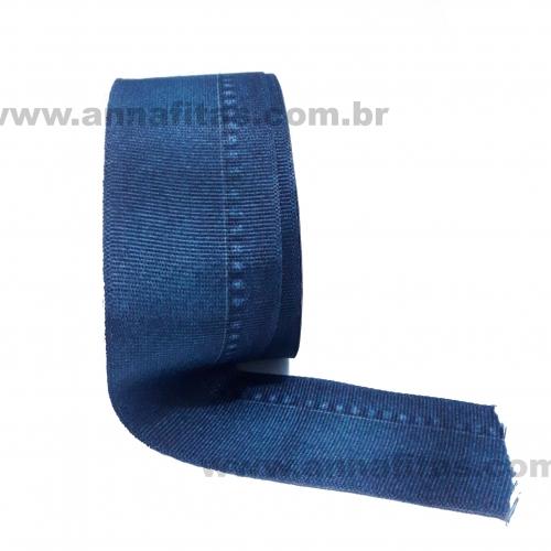 Fita Alpet de Gorgurão de 40mm com 10m Estampa JEANS Azul Marinho  Ref- 329317
