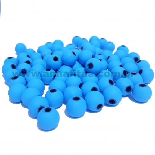 Bolas Fosca Emborrachadas de 8mm, pacote com 50 gramas, Cor: Azul Turquesa Furo Preto Ref: A08