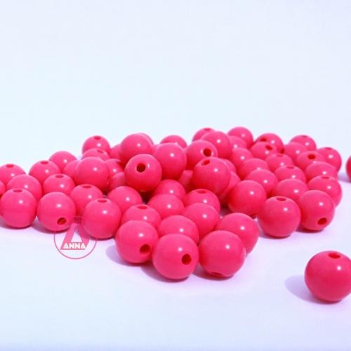 Bolas Leitosas Furo Passante de 8mm,  pacote com 50 gramas, Cor: Rosa Escura Ref: 005