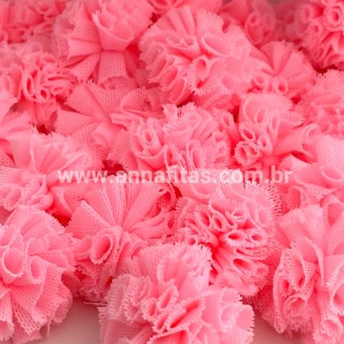 Pompom de Poliéster 2,5cm com 25 Unidades Rosa Neon Ref: 13