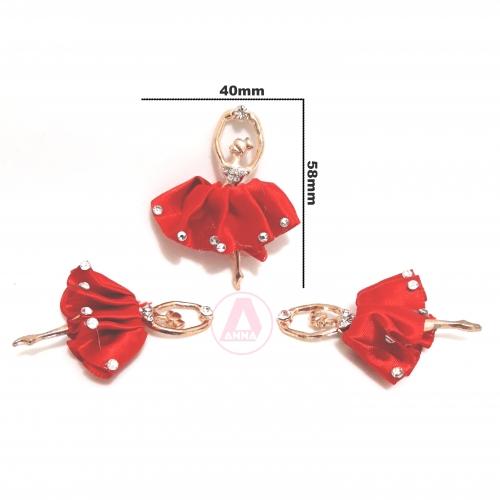Aplique Bailarinas Charme de Saia de Cetim cor Vermelha