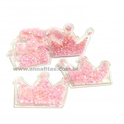 Aplique em Plástico transparente COROA LANTEJOULAS ROSA BEBÊ 4x5cm (Vendido por Unidade) Ref: 141