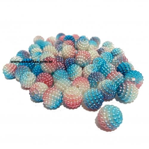 Perolas Craquelada Redondas TIE DYE de 10mm em ABS Pacote com 50g Lilás  Azul e Rosa  Ref: CRAQ22T
