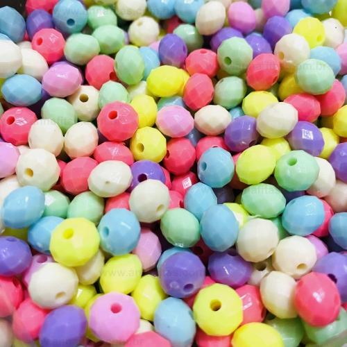 Bolas achatada sextavada de 8mm Candy Color com 50 gramas Ref: MCG8AC
