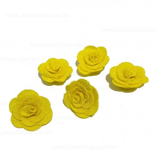 Flor de Tecido AMARELA 5 unidades de 3cm Ref- MFG115